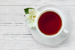 Cup of Tea with Rose Top View Stock Images