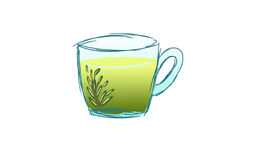 Cup of tea. Cup of rosemary tea on white background Stock Photo