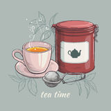 Cup of tea with round tin packaging and tea-strainer. Vector illustration with cup of tea with round tin packaging and tea-strainer Stock Photos