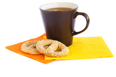 Cup of tea and rusks royalty free stock image
