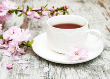 Cup of tea and sakura blossom Royalty Free Stock Photography