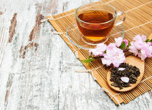 Cup of tea and sakura blossom Royalty Free Stock Images
