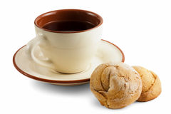 Cup of tea on the saucer and cookies Royalty Free Stock Photography