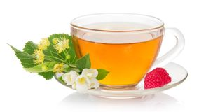 Cup of tea with a saucer, jasmine and linden Royalty Free Stock Photos