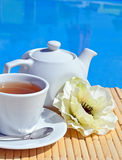 Cup of tea on a saucer and teapot. Royalty Free Stock Images