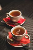 Cup Tea With Saucer and Teaspoon stock photo