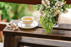 A cup of tea and a saucer on veranda Royalty Free Stock Image