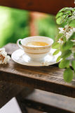 A cup of tea and a saucer on veranda Royalty Free Stock Images