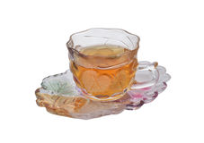 Cup of tea on saucer with white Royalty Free Stock Images