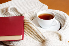 Cup of tea, scarf and book Royalty Free Stock Images