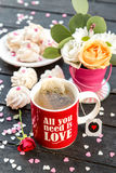 Cup of tea served on Valentine's Day Royalty Free Stock Photo