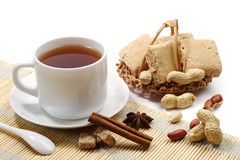 Cup of tea and sherbets Royalty Free Stock Images