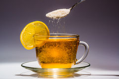 Cup of tea and slice of lemon Royalty Free Stock Photography