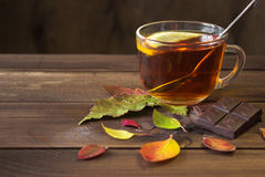 Cup of tea with slice of lemon and chocolate with autumn leaves on old wooden table. Stock Image