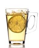 A Cup of Tea. Slice of lemon in a cup of tea on a white background Stock Image