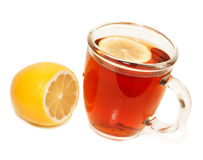 Cup of tea with sliced lemon and lemon  isolated Royalty Free Stock Image