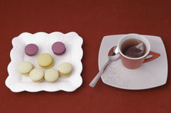 Cup of tea and smile of macaroons Royalty Free Stock Images