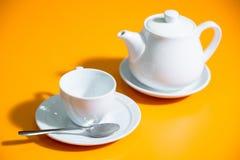 Cup of tea snd teapot Stock Photos