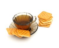 Cup of tea and some cookies. On white background Royalty Free Stock Photo