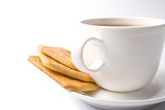 Cup of tea and some cookies. On white background Royalty Free Stock Image