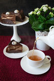 Cup of tea with Spartak cake Royalty Free Stock Photography