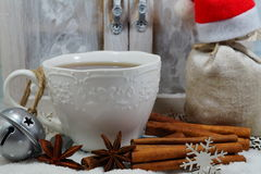 Cup of tea with spices in winter - Christmas time Stock Photography