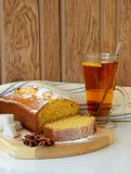 Cup of tea and Sponge cake made ​​with cornmeal Stock Photography