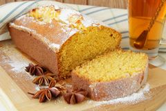 Cup of tea and Sponge cake made ​​with cornmeal Stock Photo