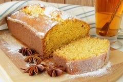 Cup of tea and Sponge cake made with cornmeal Stock Photo