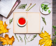 Cup of tea standing on an open book with autumn leaves, books, mint and thyme on wooden rustic background top view Royalty Free Stock Photo