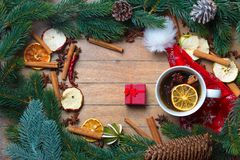Cup of tea with star anise and cinnamon around Royalty Free Stock Photo