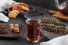 Cup of tea, still life on a dark background Royalty Free Stock Photos