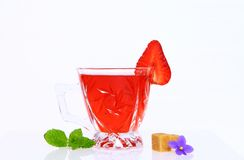 Tea with strawberry Stock Photography