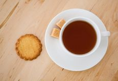 Cup of tea, sugar and biscuits Royalty Free Stock Images