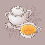 Cup of tea and sugar bowl. Illustration with cup of tea and sugar bowl on grey  background Royalty Free Stock Photo