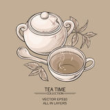 Cup of tea and sugar bowl. Illustration with cup of tea,  sugar bowl and tea leaves on brown background Royalty Free Stock Photos