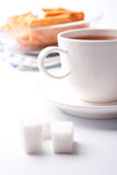 Cup of tea, sugar and cookies Royalty Free Stock Image