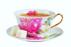 A cup of tea and sugar in isolation Stock Images