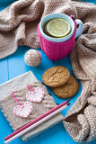 A cup of tea in sweater with lemon, old notebook with hearts. Of felt, beige knitted blanket and spokes lie on blue background Stock Image