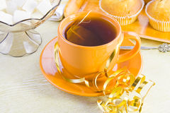 Cup with tea and sweet  domestic cakes Stock Photos