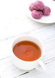 Cup of tea with sweet potato pie Royalty Free Stock Photos