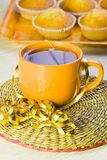 Cup with tea and sweet vanilla domestic cakes Stock Photo