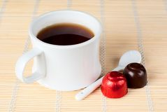 A cup of tea with sweets. Stock Photography