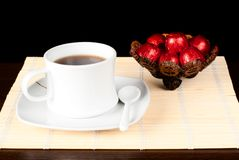 A cup of tea with sweets. Stock Image