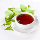 Cup of tea and sweets Stock Image