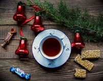 Cup of tea with sweets Stock Images