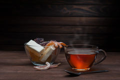 Cup of tea and sweets Royalty Free Stock Photos