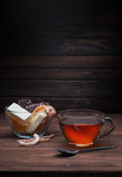 Cup of tea and sweets Royalty Free Stock Images