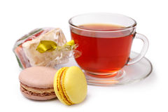 Cup of tea and sweets Royalty Free Stock Image