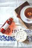 Cup of tea syrup and cheese Royalty Free Stock Photo